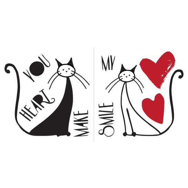Home Decor Line Black Love And Cats Wall Quote Decal