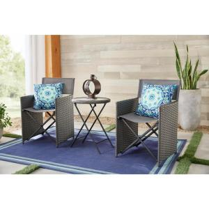Montrose 3-Piece Grey Folding Wave Outdoor Patio Glass Bistro Set
