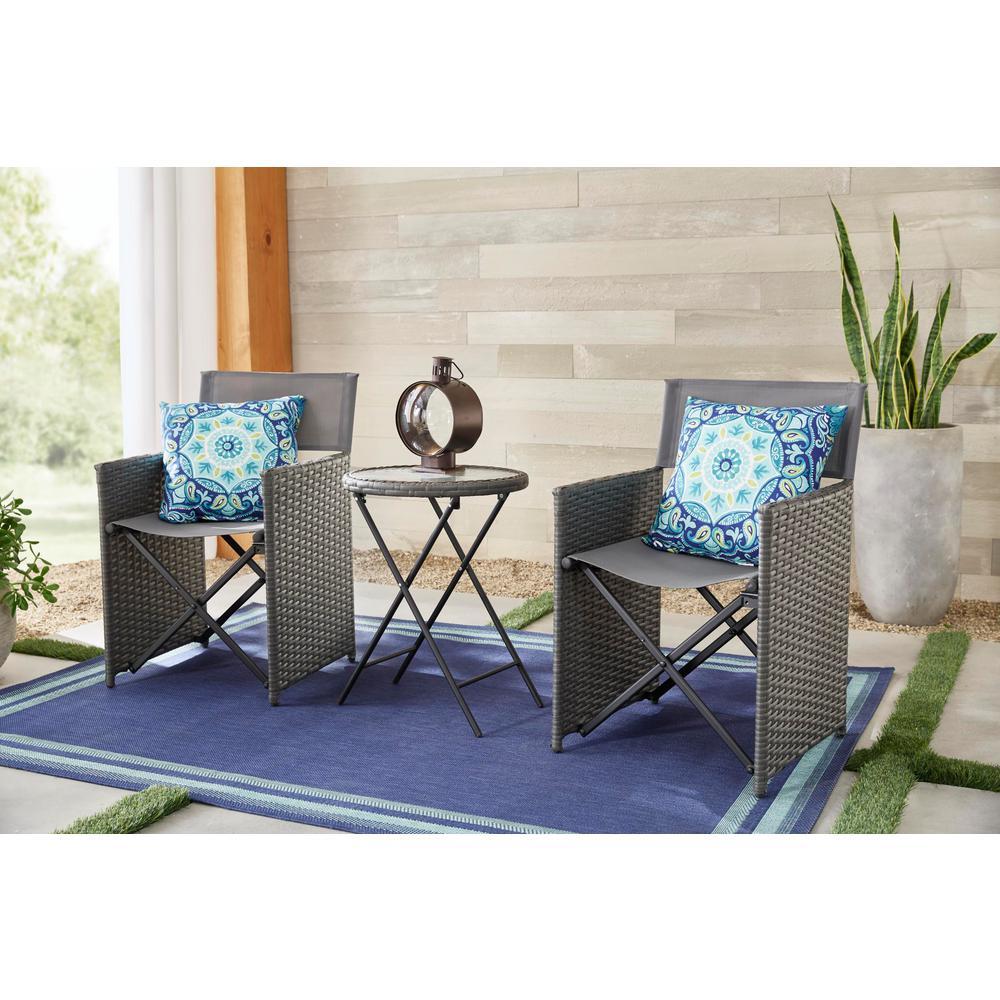 Montrose 3-Piece Grey Folding Wave Outdoor Patio Glass Bistro Set