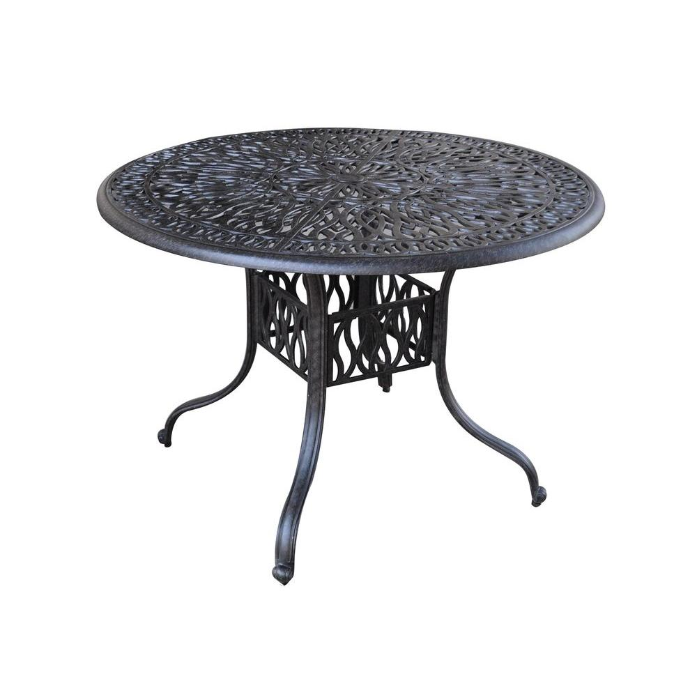 HOMESTYLES Floral Blossom 42 in. Round Patio Dining Table