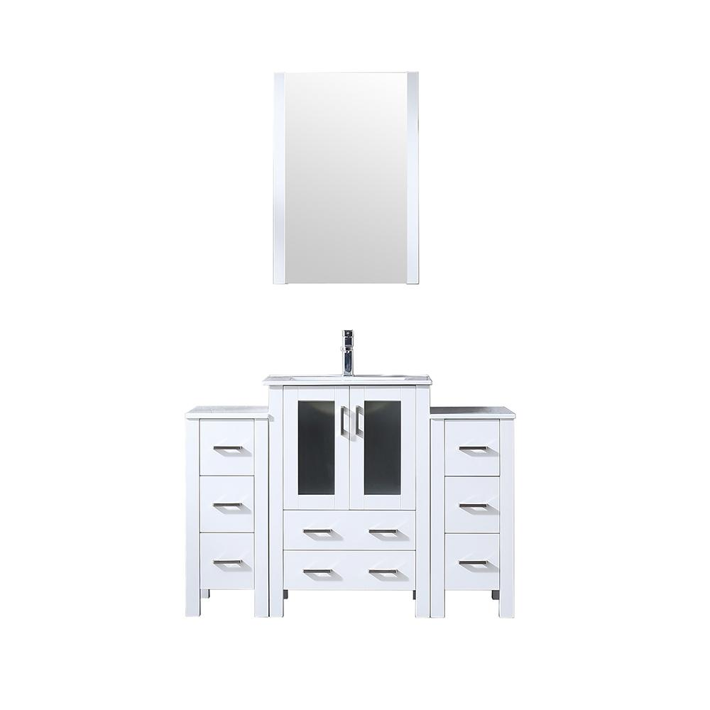 Lexora Volez 48 in. Single Vanity White w/ 2 Side Cabinets Integrated Top White Integrated Square Sink and 22 in. Mirror