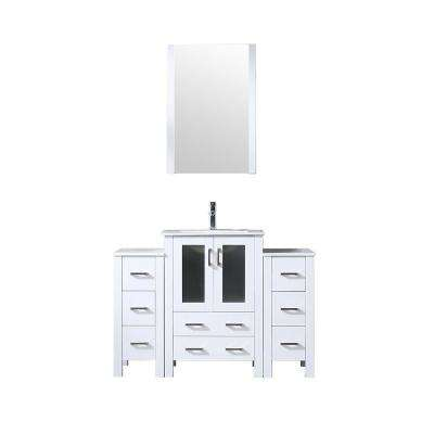 Volez 48 in. Single Vanity White w/ 2 Side Cabinets Integrated Top White Integrated Square Sink and 22 in. Mirror