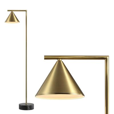 Chelsea 60 in. Metal/Marble Cone Shade LED Floor Lamp, Brass/Black