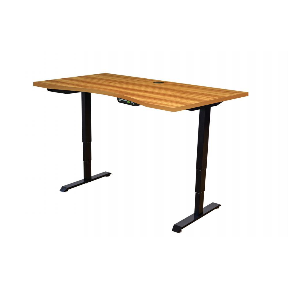 Canary Brown Black Adjustable Height Desk Black Base Brown Tabletop Product Image