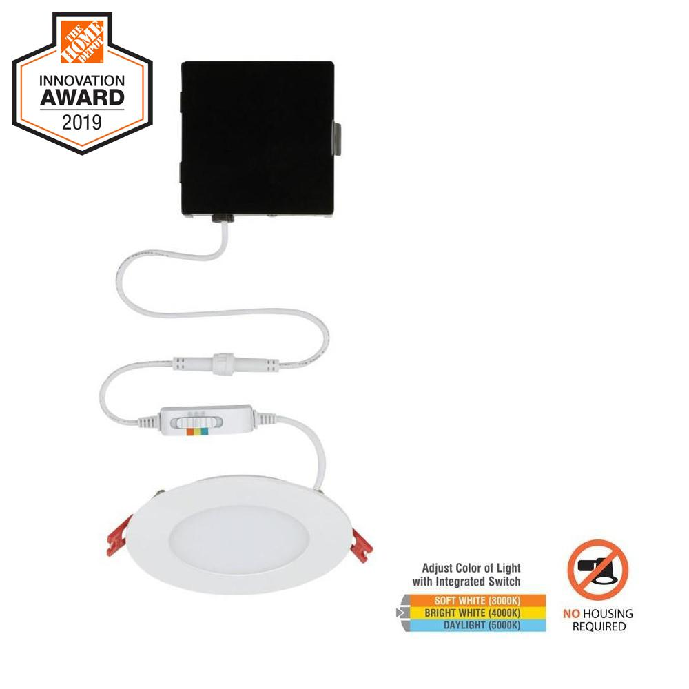 Commercial Electric Ultra Slim 4 in. New Construction and Remodel Color Selectable Canless LED Recessed Kit