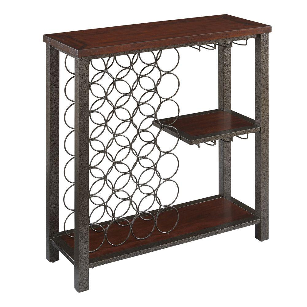 Home Styles 39 in. H x 38 in. W x 14.25 in. D Wood Storage Wine Rack