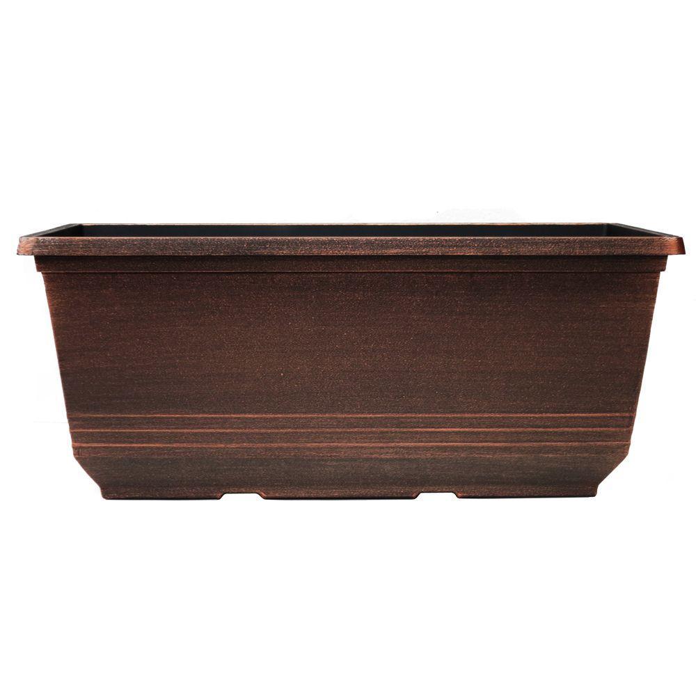 7.6 in. x 15 in. Warm Copper Plastic Torino Window Box