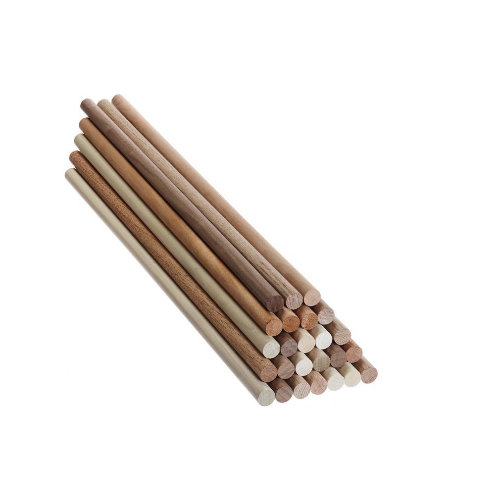 Swaner Hardwood 3 4 In X 3 4in X 24 In Hardwood Rounds Dowel 25 Piece Case