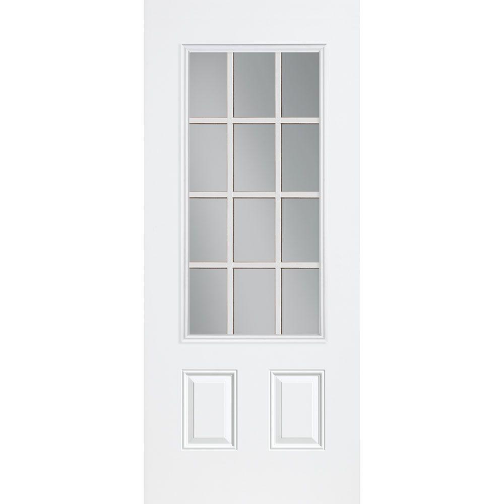 Masonite Premium 12 Lite Primed Steel Prehung Front Door with No Brickmold