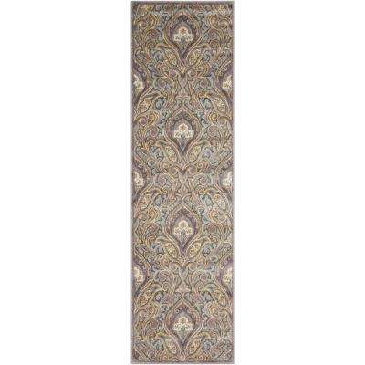 Graphic Illusions Grey 2 ft. x 8 ft. Runner Rug