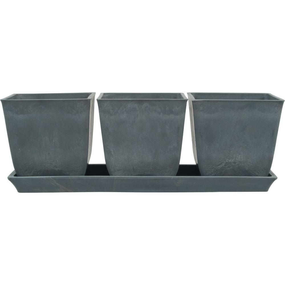 13 in. L x 4.5 in. W x 4.5 in. H Erbe Light Gray Terrain Plastic Pot Set with Tray