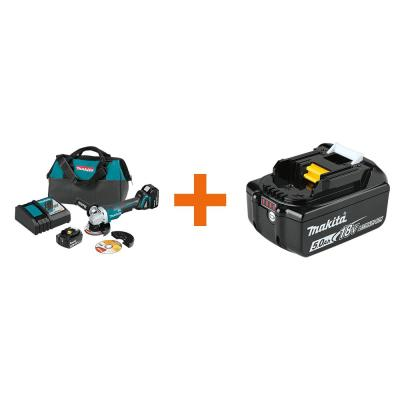 18V 5.0Ah LXT Brushless 4-1/2 in./5 in. Paddle Switch Cut-Off/Angle Grinder Kit with bonus 18V LXT Battery Pack 5.0Ah