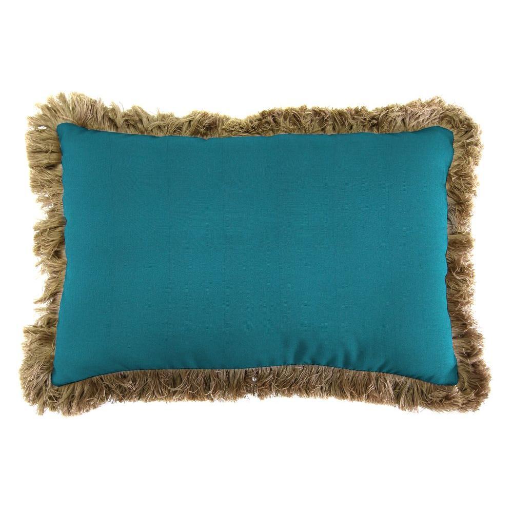 Sunbrella 19 in. x 12 in. Spectrum Peacock Lumbar Outdoor Throw Pillow with Heather Beige Fringe