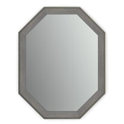 26 in. x 34 in. (M2) Octagonal Framed Mirror with Standard Glass and Easy-Cleat Flush Mount Hardware in Weathered Wood
