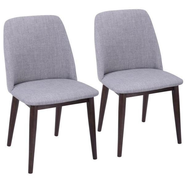Lumisource Tintori Light Grey Fabric Dining/Accent Chair with Walnut (Set of