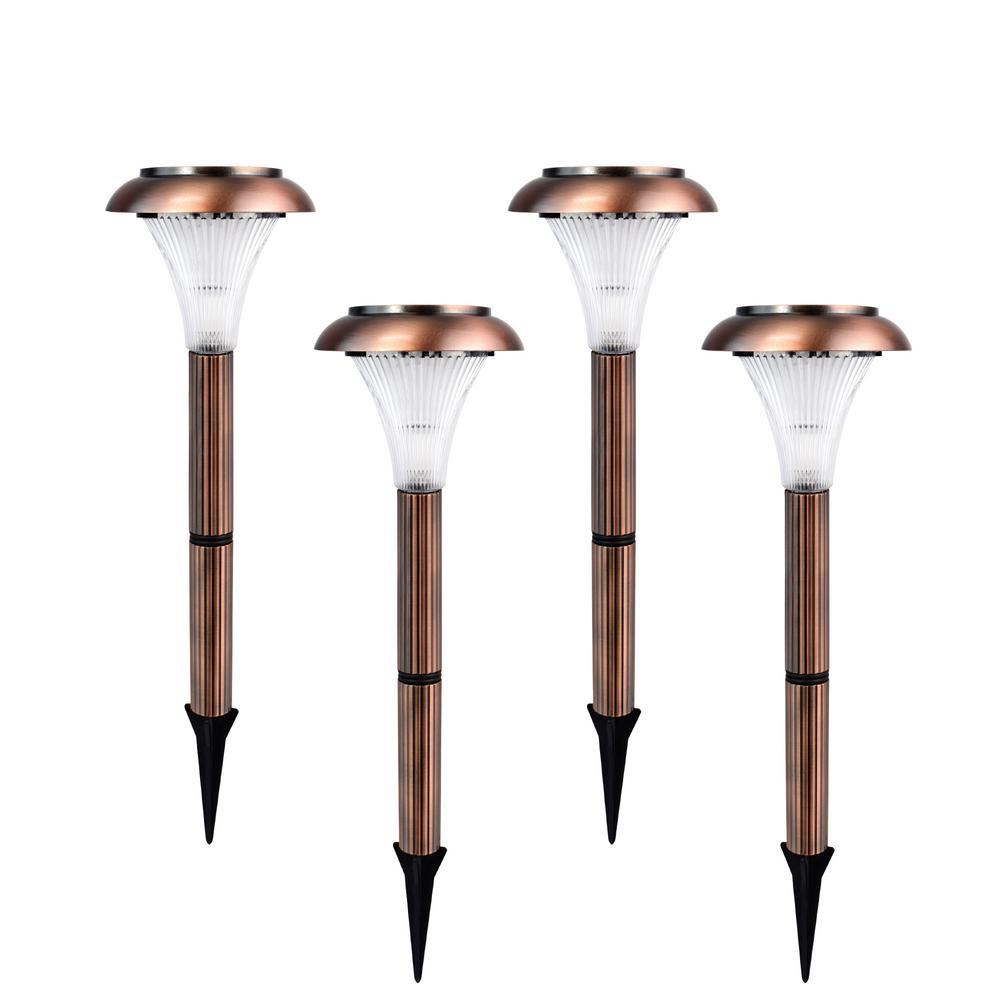 Copper Outdoor Integrated LED Landscape Path Light (Set of 4)