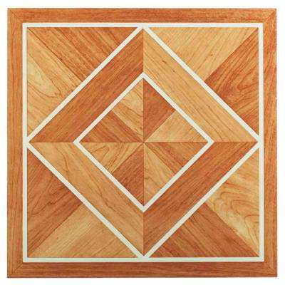 Tivoli Oak 12 in. x 12 in. Peel and Stick White Border Parquet Vinyl Tile (45 sq. ft./case)