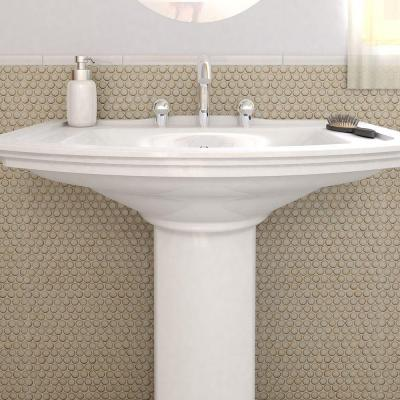 Hudson Penny Round Caffe 12 in. x 12-5/8 in. x 5 mm Porcelain Mosaic Tile (10.74 sq. ft. / case)