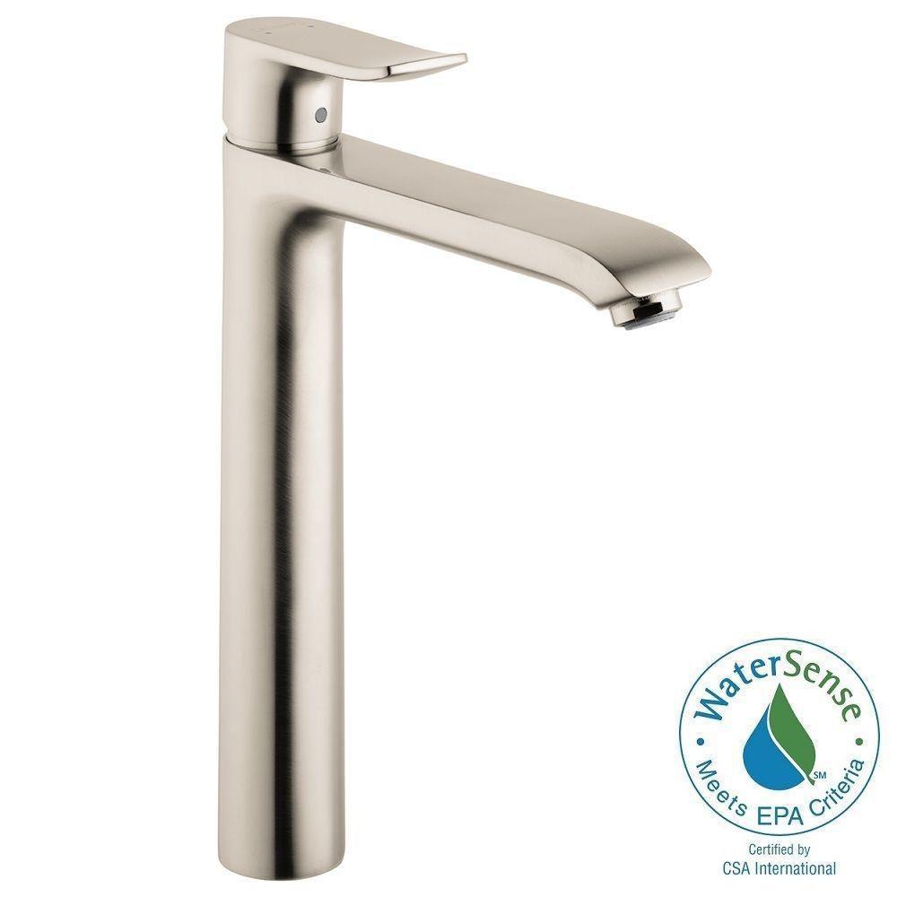 Metris Single Hole 1-Handle High-Arc Bathroom Faucet in Brushed Nickel