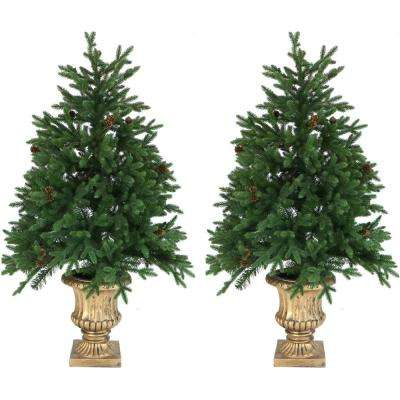 4 ft. Noble Fir Artificial Trees with Metallic Urn Bases and Battery-Operated LED String Lights (Set of 2)