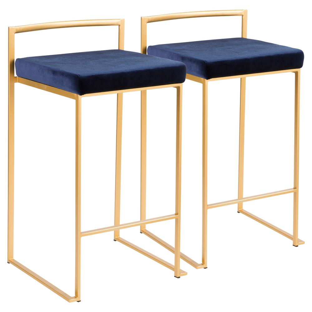 Lumisource Fuji 26 In Gold Stackable Counter Stool With