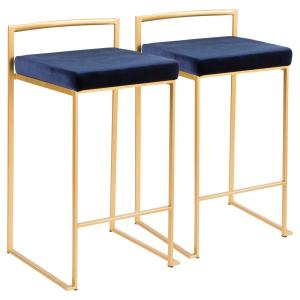 Fuji 26 in. Gold Stackable Counter Stool with Blue Velvet Cushion (Set of 2)