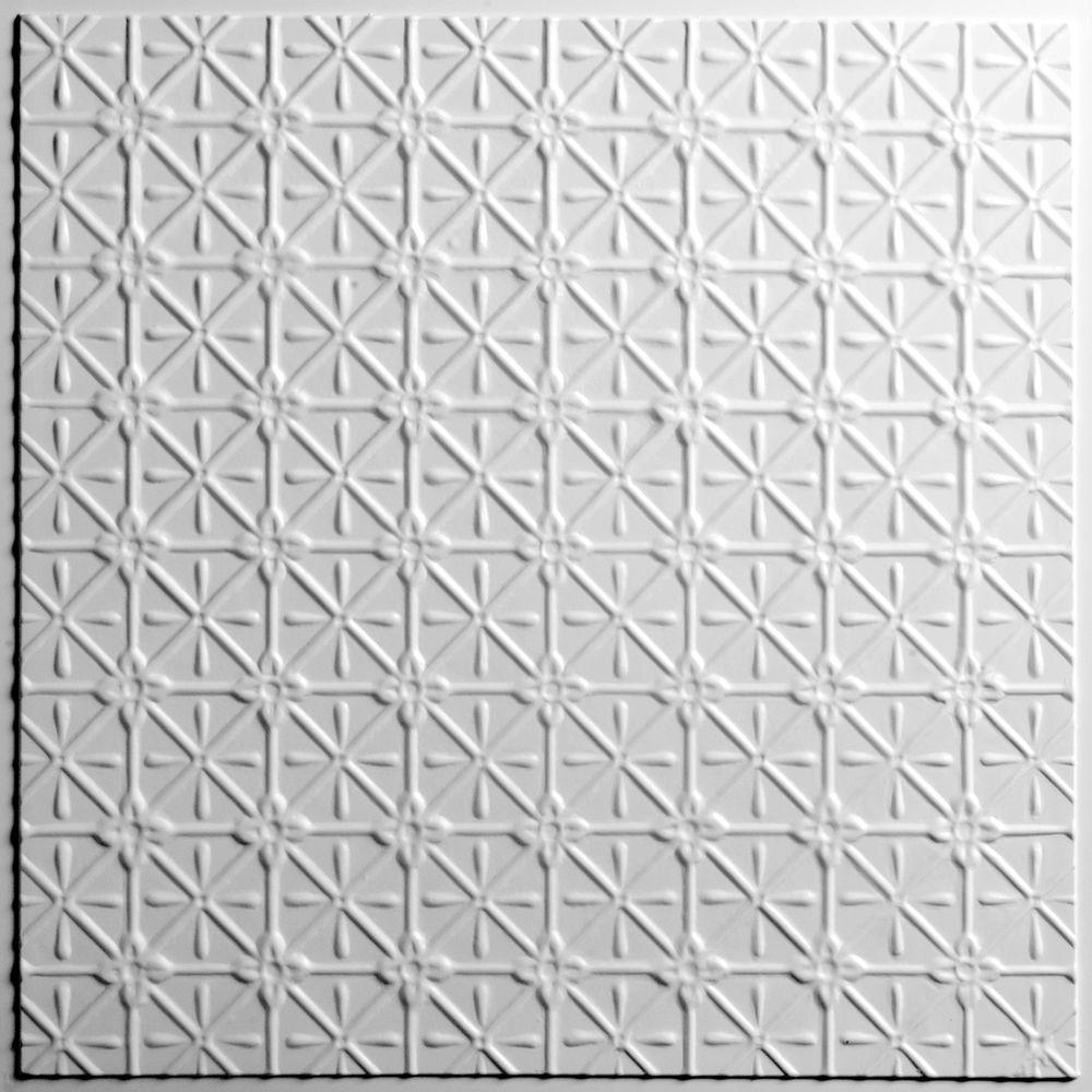 Ceilume Continental White 2 ft. x 2 ft. Lay-in or Glue-up Ceiling Panel (Case of 6)