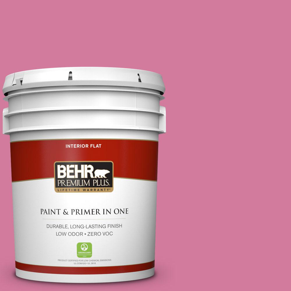 BEHR Premium Plus 5-gal. #P130-5 Little Bow Pink Flat Interior Paint