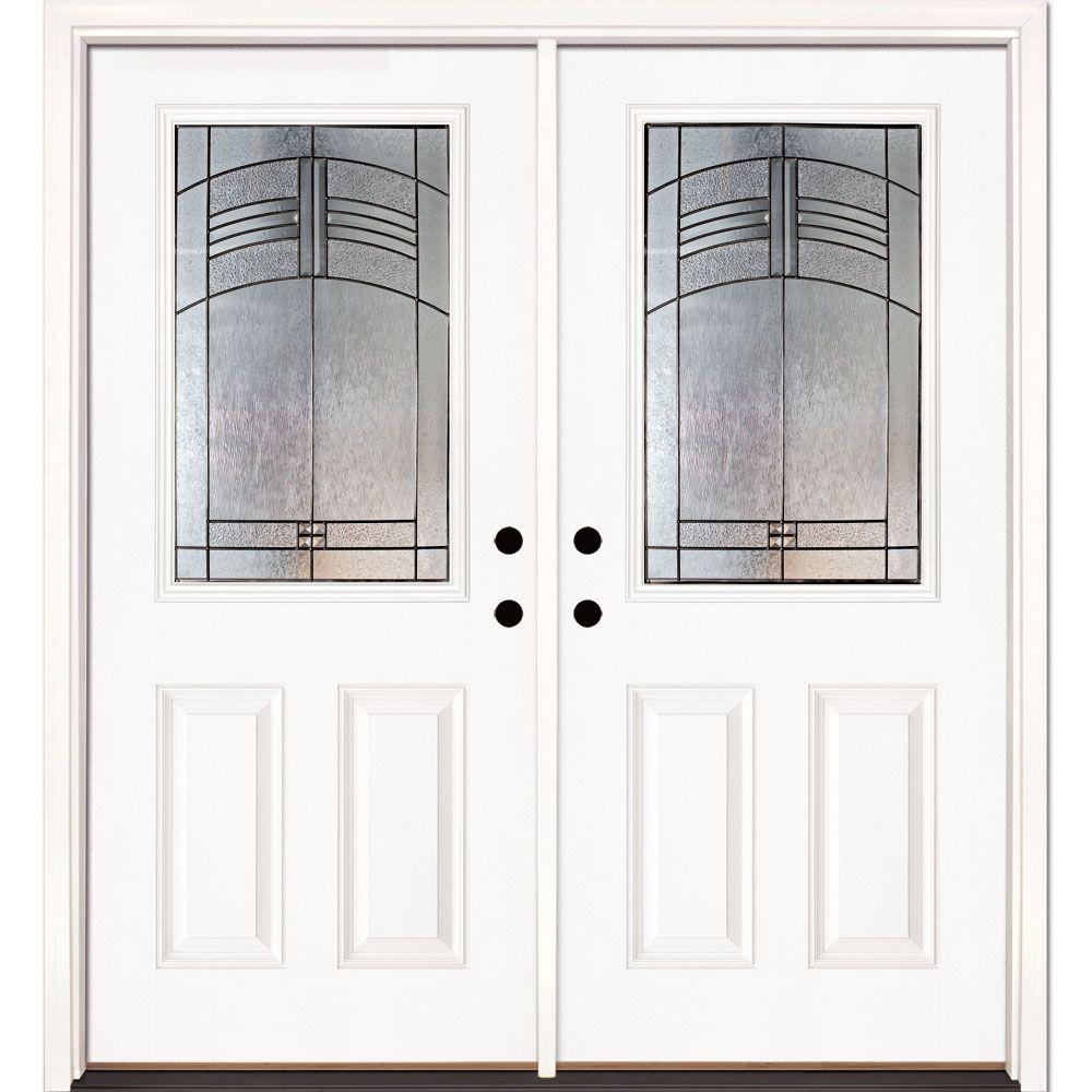 Feather River Doors 74 in. x 81.625 in. Rochester Patina 1/2 Lite Unfinished Smooth Right-Hand Inswing Fiberglass Double Prehung Front Door