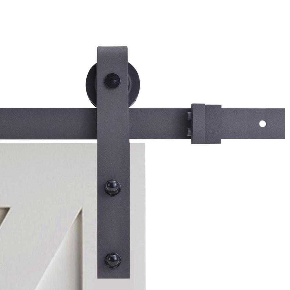 CALHOME 72 in. Black Classic Bent Strap Barn Style Sliding Door Track and Hardware Set