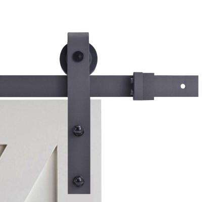 72 in. Black Classic Bent Strap Barn Style Sliding Door Track and Hardware Set