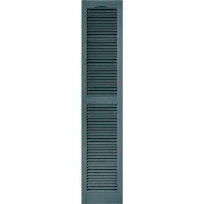15 in. x 72 in. Louvered Vinyl Exterior Shutters Pair in #004 Wedgewood Blue