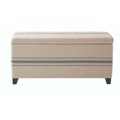 Chambers 42 in. W Navy Stripe Rectangular Storage Shoe Bench