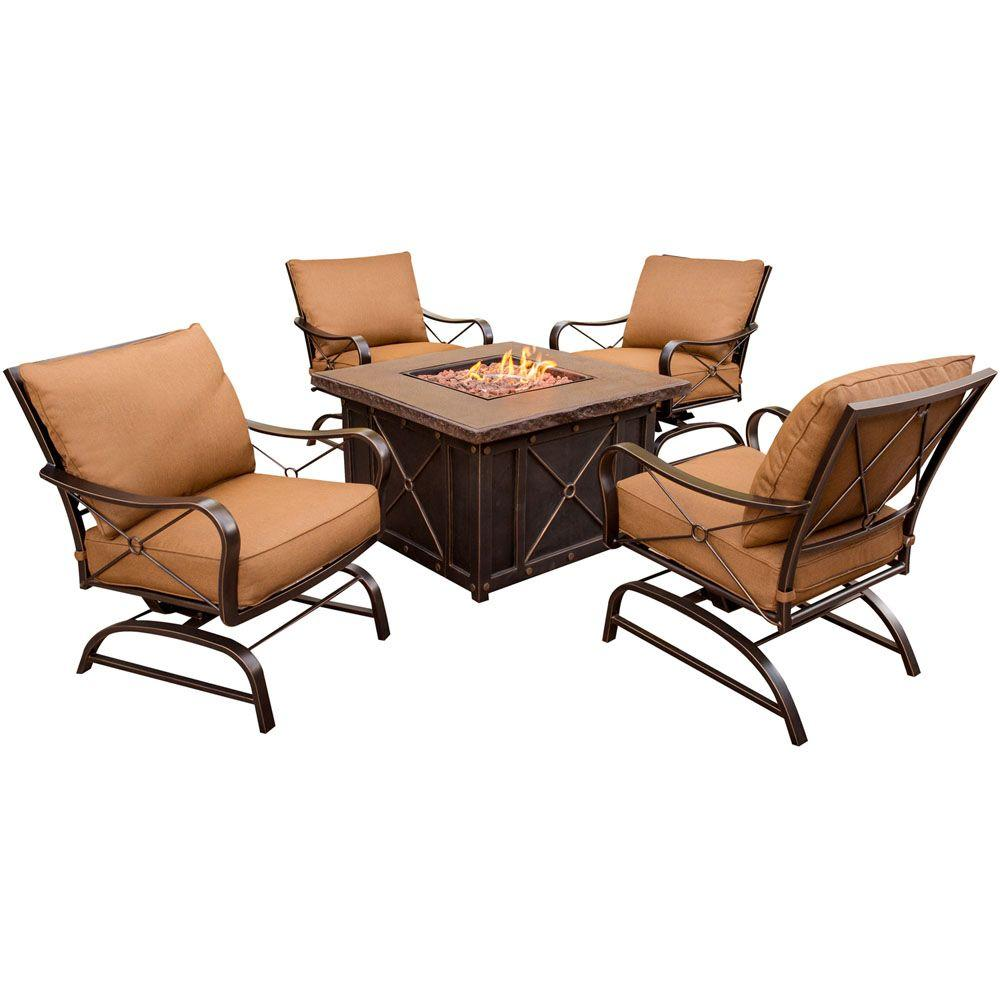 Hanover Summer Nights 5 Piece Patio Fire Pit Set With 4 Cushion Rockers And  40 In. Square Fire Pit And Desert Sunset Cushions SUMMRNGHT5PC   The Home  Depot
