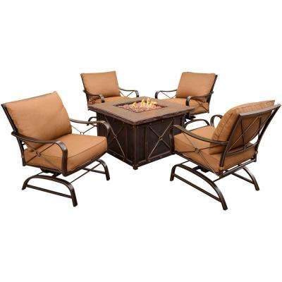 Summer Nights 5-Piece Patio Fire Pit Set with 4 Cushion Rockers and 40 in. Square Fire Pit and Desert Sunset Cushions