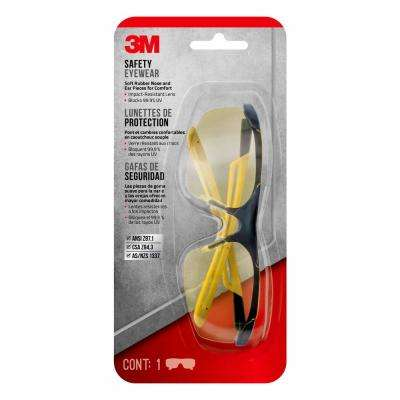 Safety Eyewear Glasses, Comfort Black Frame with Yellow Accent, Amber Anti Fog and Scratch Resistant Lens