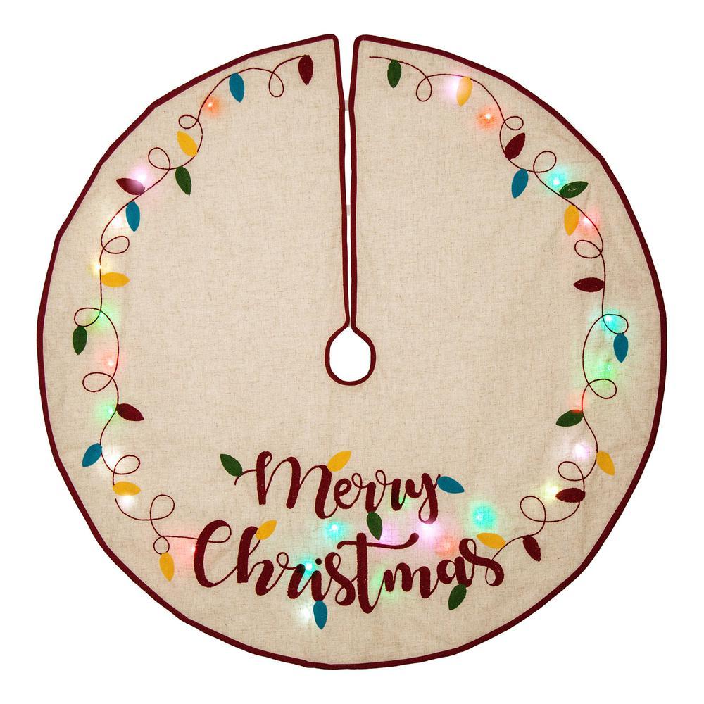 Linen Christmas Tree Skirt: Glitzhome 48 In. D LED Embroidered Linen Christmas Tree