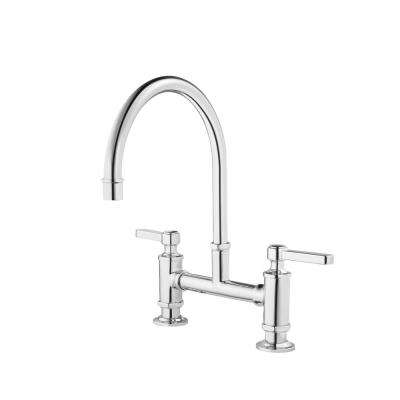 Port Haven 2-Handle Bridge Kitchen Faucet in Polished Chrome