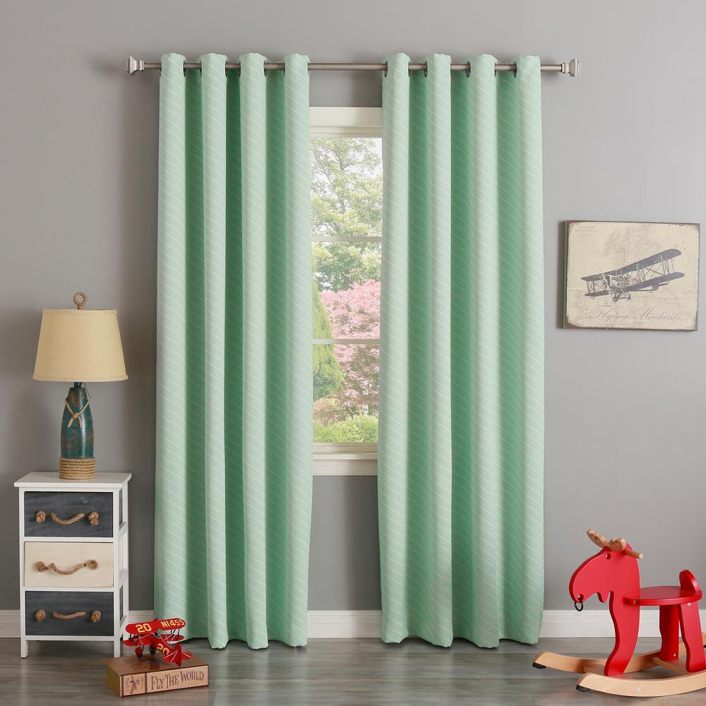 L Room Darkening Diagonal Stripe Curtain Panel In Mint