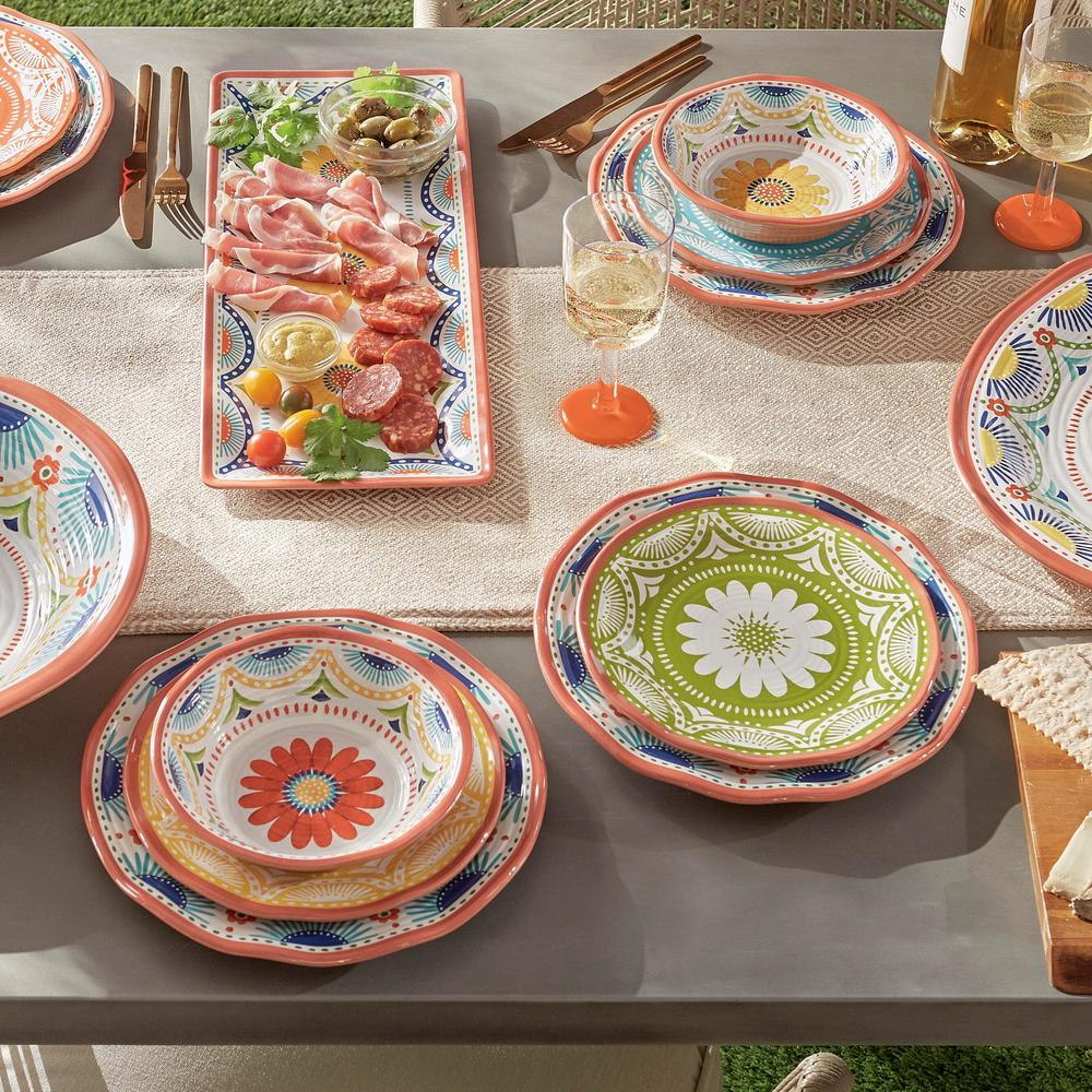 Vera Cruz 12-Piece Casual Multicolor Melamine Outdoor Dinnerware Set (Service for 4)