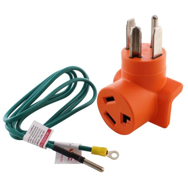 Dryer Outlet Adapter 4-Prong Dryer 14-30P Plug to 30 Amp 3-Prong Dryer 10-30R Adapter with 5 ft. Grounding Wire