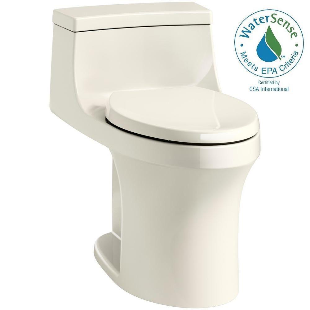 KOHLER San Souci 1-piece 1.28 GPF Single Flush Elongated Toilet in Biscuit