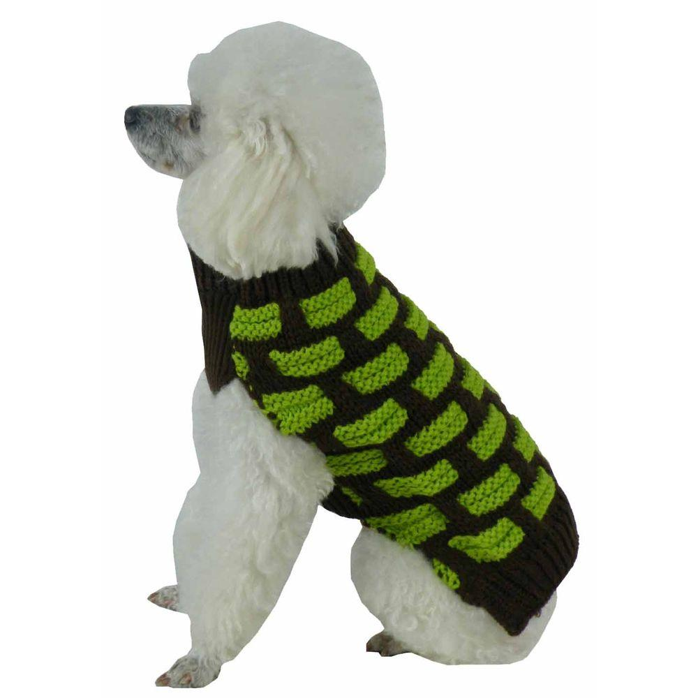 Large Choco Brown and Neon Green Fashion Weaved Heavy Knit Designer