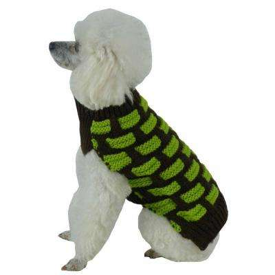 Medium Choco Brown and Neon Green Fashion Weaved Heavy Knit Designer Ribbed Turtle Neck Dog Sweater