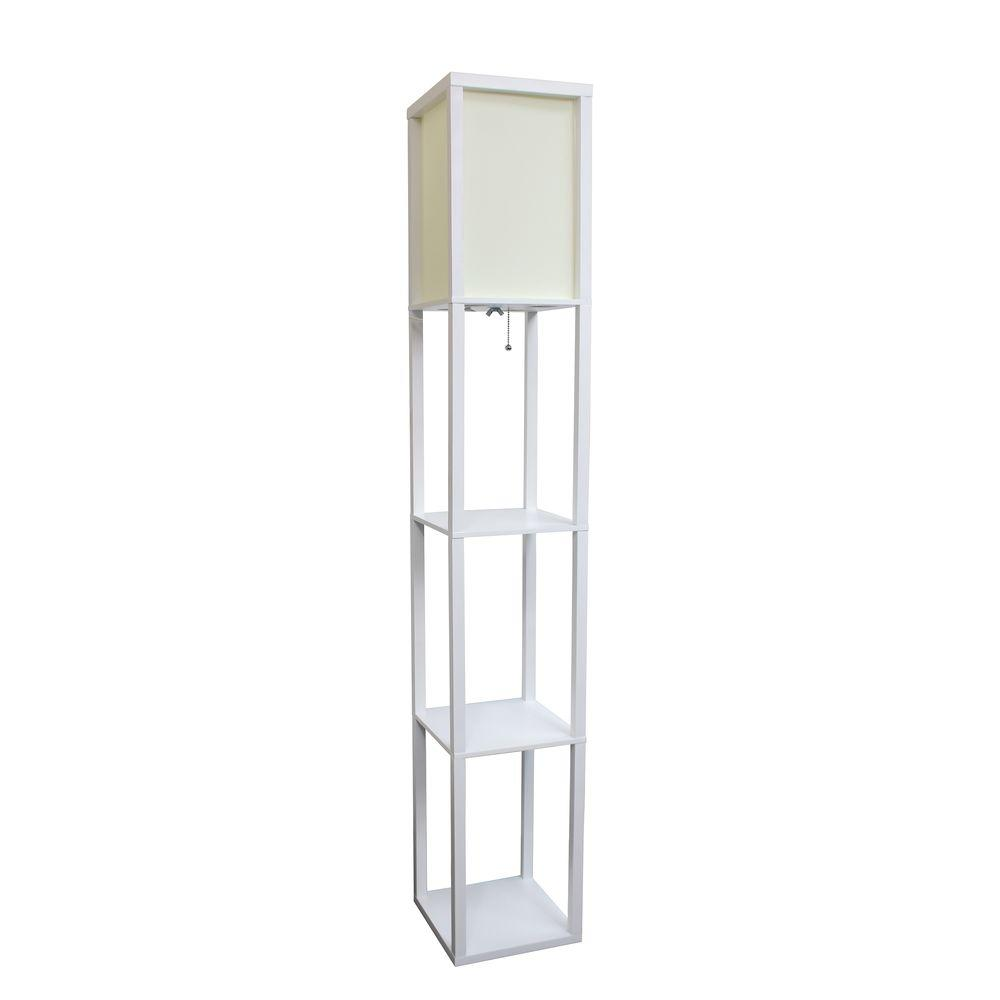 Beau Etagere White Floor Lamp Organizer Storage Shelf With Linen Shade