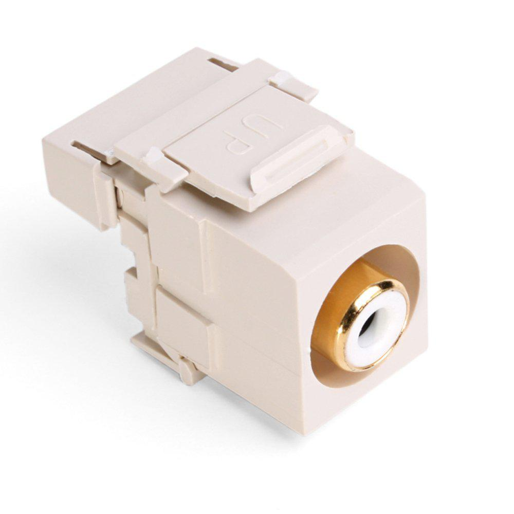 QuickPort RCA 110-Type Connector with White Barrel, Light Almond