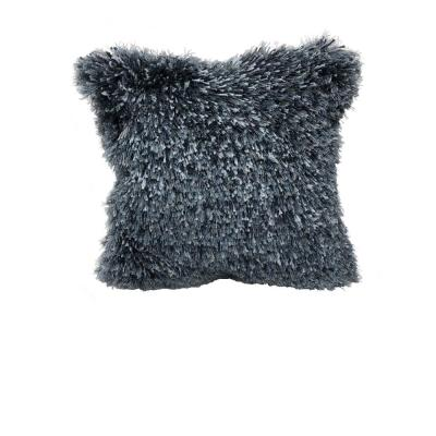 Quinto Blue Shag Solid Fluffy Poly-Fill 18 in. x 18 in. Throw Pillow