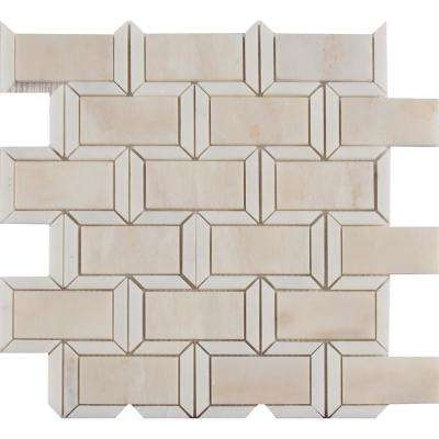 Angora Framework 12 in. x 12 in. x 10mm Polished Marble Mesh-Mounted Mosaic Tile (10 sq. ft./case)