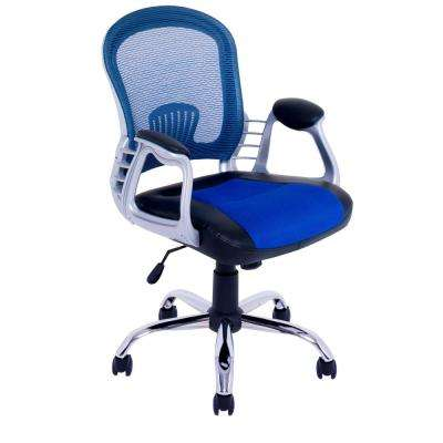 Workspace Black Leatherette and Blue Mesh Office Chair