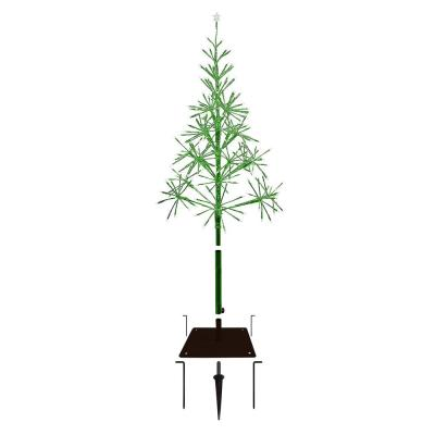 53 in. Tall Indoor/Outdoor Artificial Christmas Tree with LED Lights, Green